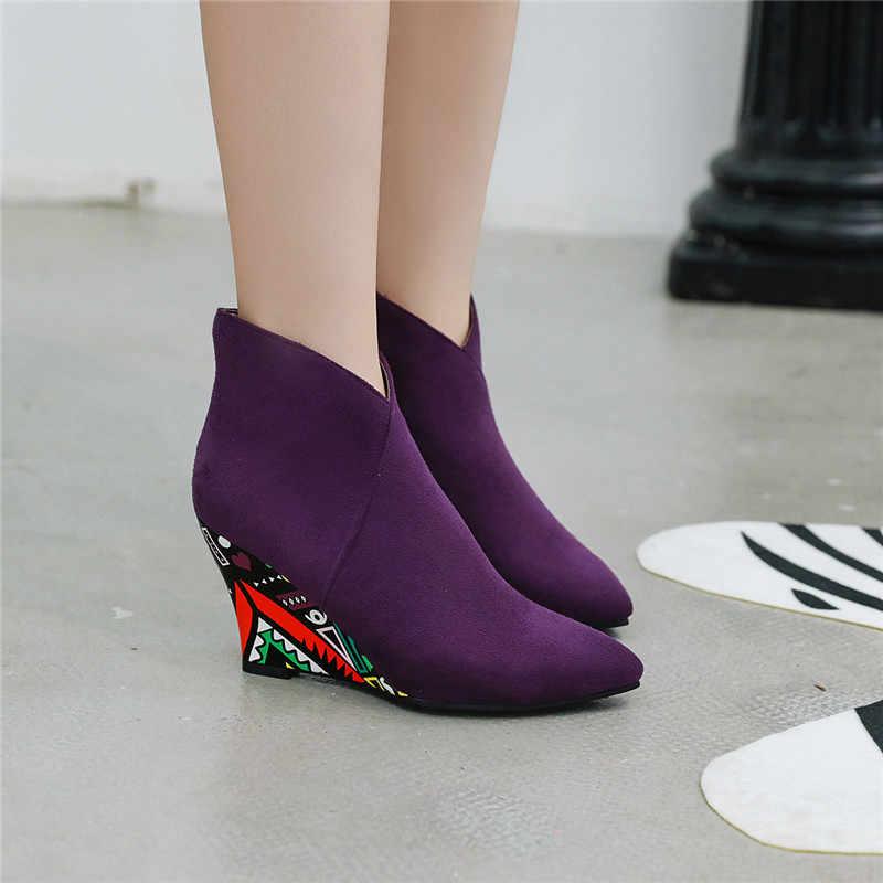 Asumer büyük boy 34-43 moda yarım çizmeler kadınlar için sivri burun bayanlar sonbahar kışlık botlar takozlar yüksek topuklar balo botlar 2020 yeni