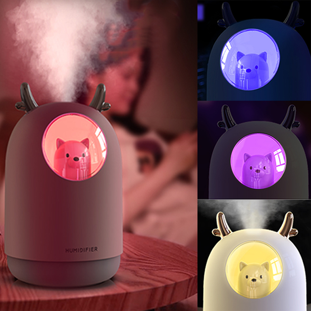 Ultrasonic Air Humidifier 300ml Portable Nebulizer Cute Pet Ultrasonic Cool Mist Aroma Air Oil Diffuser Romantic Color LED Lamp