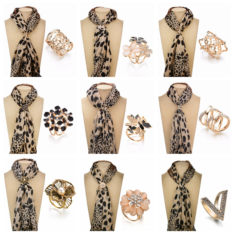 Fashion Rhinestone Brooches For Women Scarf Clip Jewelry Accessories Silk Shawl Buckle Ring Clip Simple Women Party Gifts