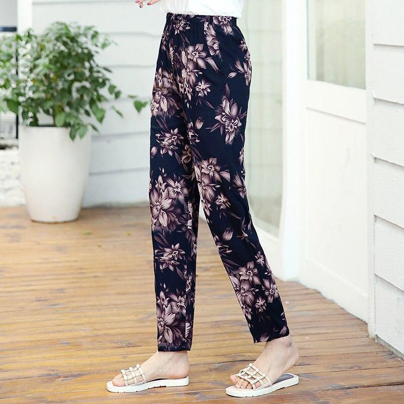 22 Colors 2020 Women Summer Casual Pencil Pants XL-5XL Plus Size High Waist Pants Printed Elastic Waist Middle Aged Women Pants 24