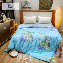 Liv-Esthete Blue Flower 100% Mulberry Silk Duvet Comforter Filled Healthy Skin Double Queen King Quilt Free Shipping