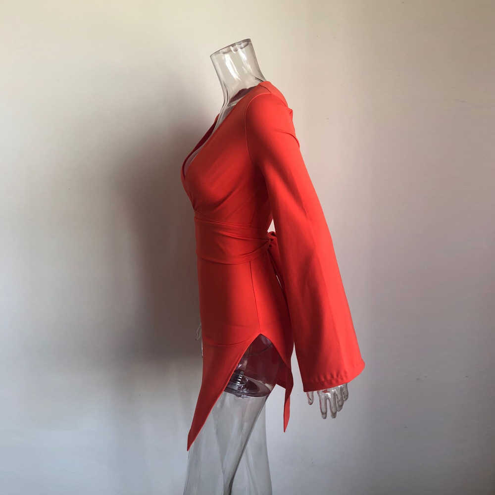 XLLAIS 2019 automne robe femmes robes de soirée manches évasées Orange col en V profond Mini robes Vestidos Sexy côté fendu tenues
