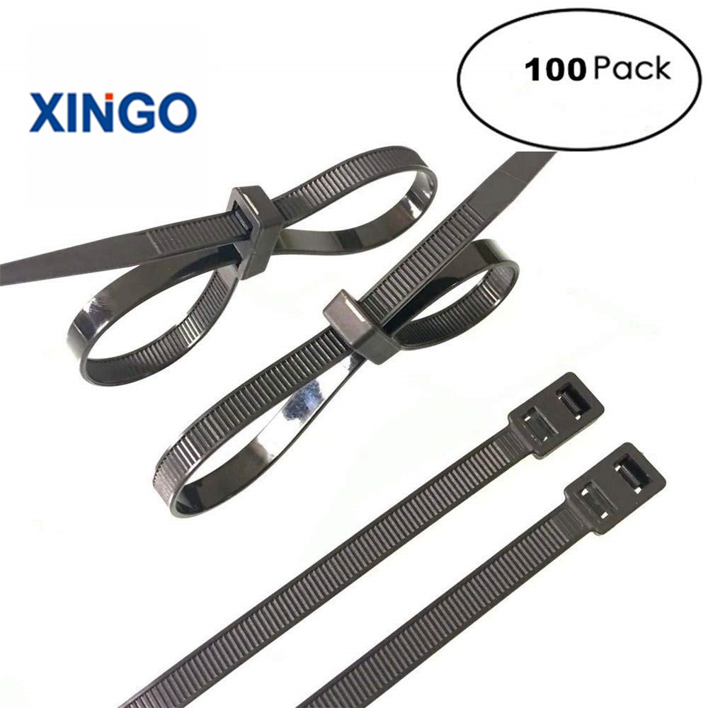 Xingo 8in &12Inch Heavy Duty Zip ties Unique Double Self-Lock Black Nylon Cable Ties Fasten Loop Electrical Wire ties UV 100Pack