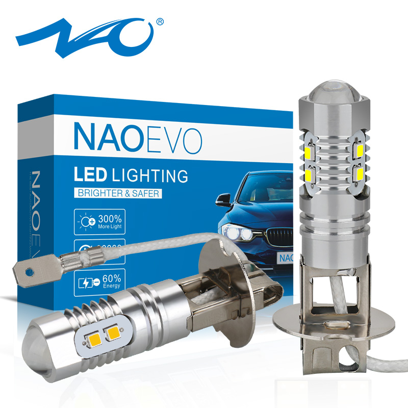 NAO H1 LED Fog Light H3 White 12V 8SMD 2323 Chips 6000K High Quality Auto Motorcycle Driving Day Running Lamp