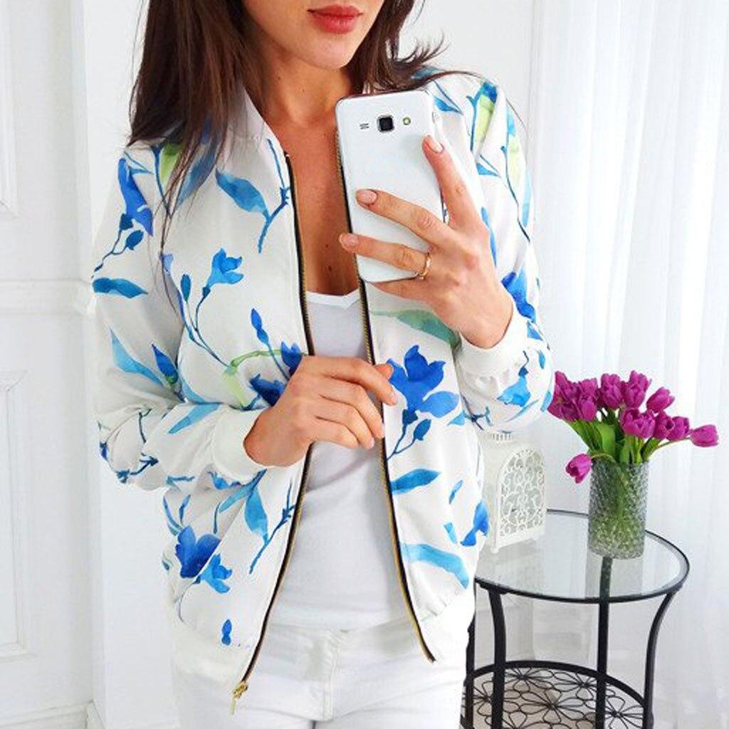 Woman Bomber Jackets New Arrival Womens Ladies Retro Floral Printing Zipper Up Jacket Casual Tops Coat Outwear Kurtka Damska