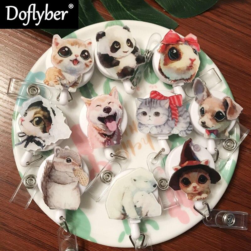 New Cartoon Pet Dog Cat Retractable Pull Badge Reel ID Lanyard Name Tag Card Badge Holder Reels Doctor Nurse Supplies
