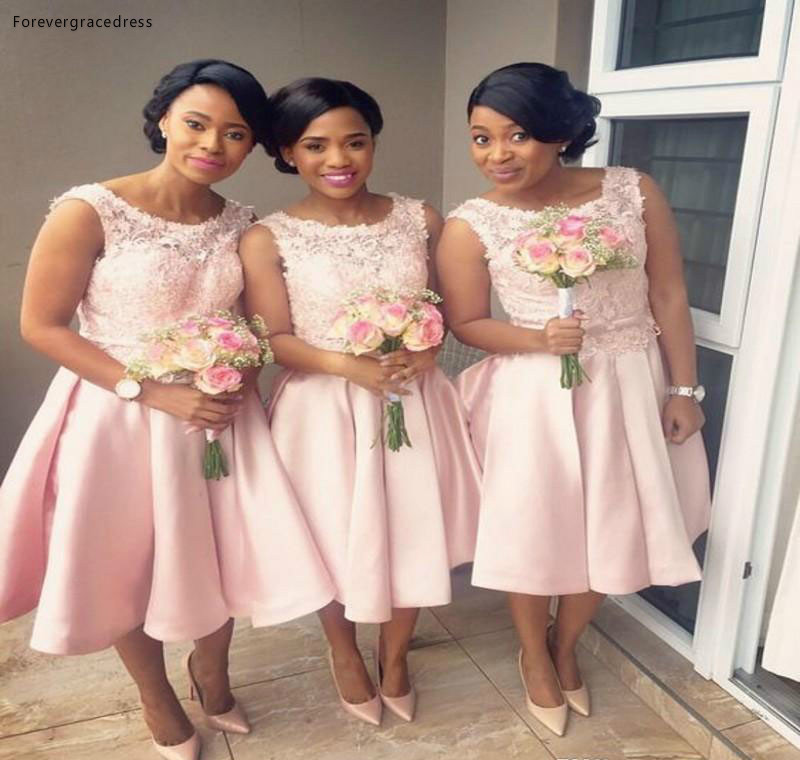2019 African Nigerian Bridesmaid Dress Blush Pink Short Spring Summer Formal Wedding Party Guest Maid Of Honor Gown Plus Size