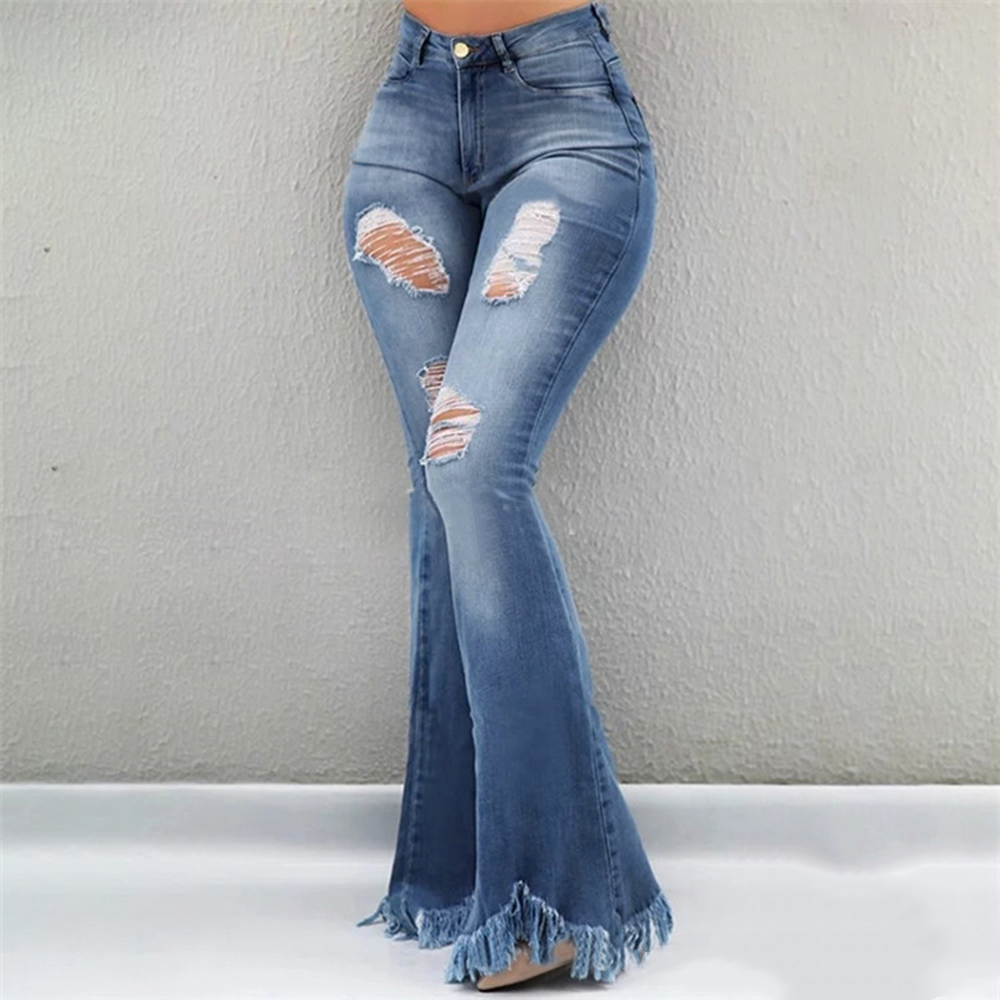 CALOFE Women Flare Jeans High Waist Fringe Denim Skinny Pants Woman Stretch  Jeans Female Wide Leg Jeans Bell Bottoms Clothes