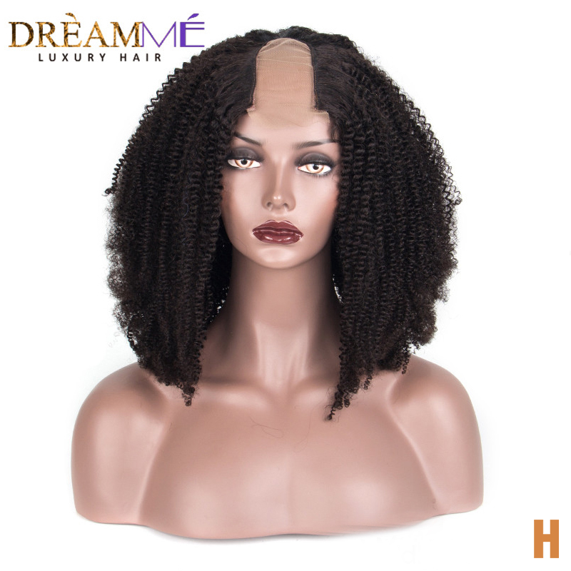 Afro Kinky Curly U Part Wig 100% Mongolian Human Hair Wig Middle Opening 2*4 Inches Size Wig Dreaming Remy Hair 130% Density