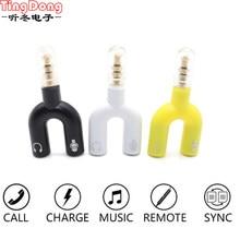 TingDong 3.5mm earphone Jack Splitter Adapter Portable U shape 2 Female Stereo Splitter Audio to Mic & Headset Jack Plug Adapter