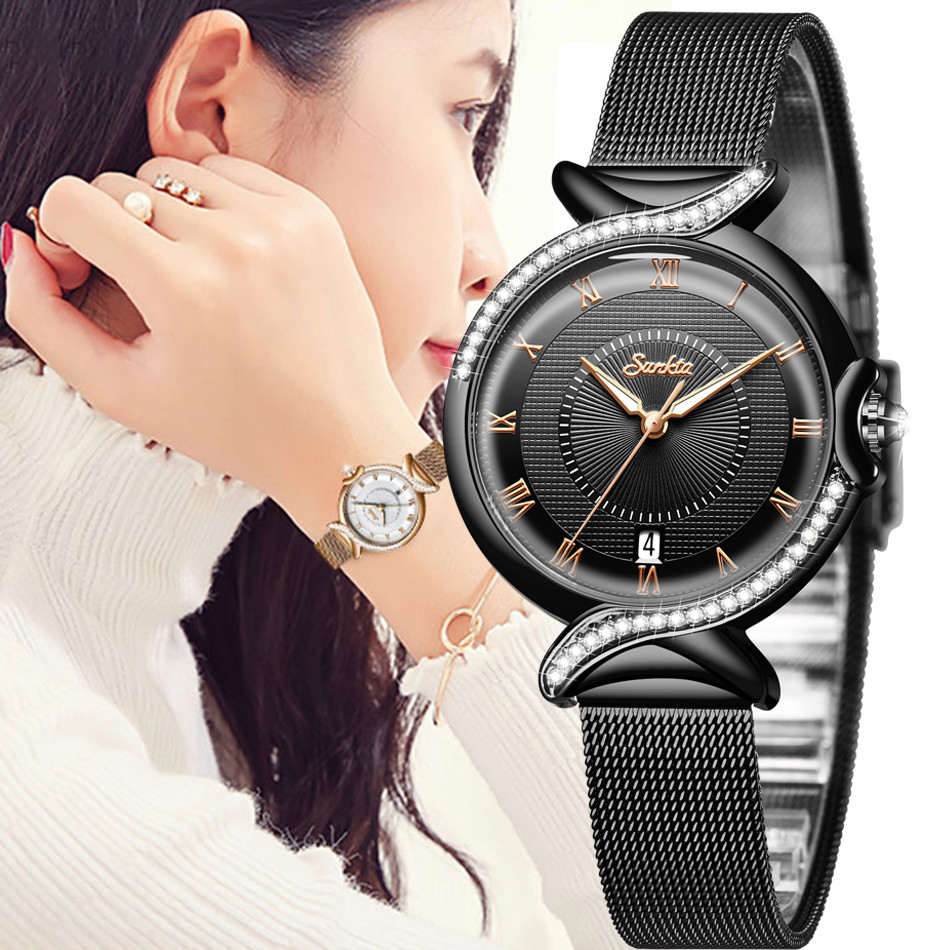 SUNKTA Women Watches Fashion Rose Gold Female Clock Business Quartz Watch Ladies Stainless Steel Waterproof Wrist Watch Relogio