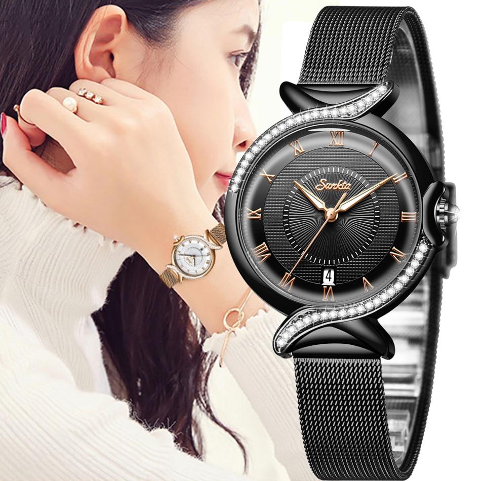 SUNKTA Women Watches Fashion Rose Gold Female Clock Business Quartz Watch Ladies Stainless Steel Waterproof Wrist Watch Relogio