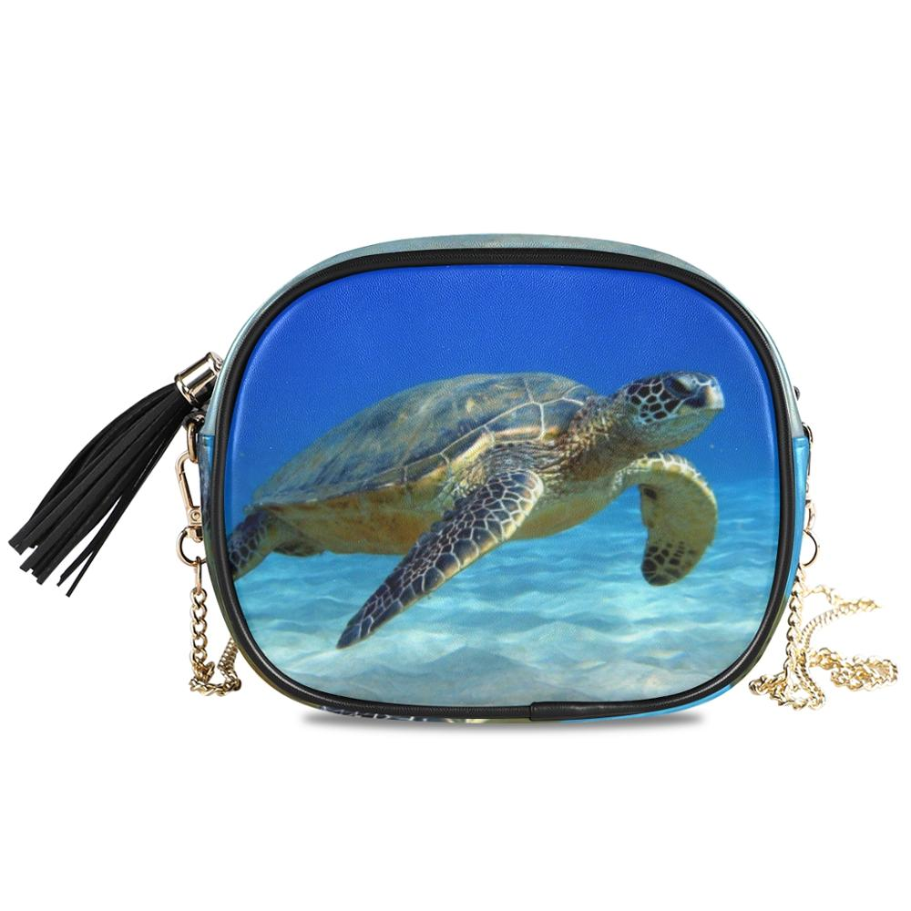 Womens Top Handle Satchel Handbag Under Water Turtles Ladies PU Leather Shoulder Bag Crossbody Bag