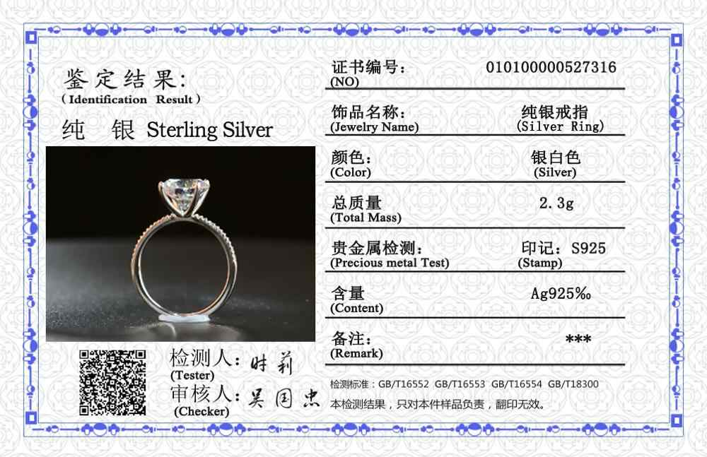Yanhui anel de casamento feminino, anel de carat com certificado solitário, prata original, joias de 925 natural, 9mm de zircônia, diamante, para mulheres