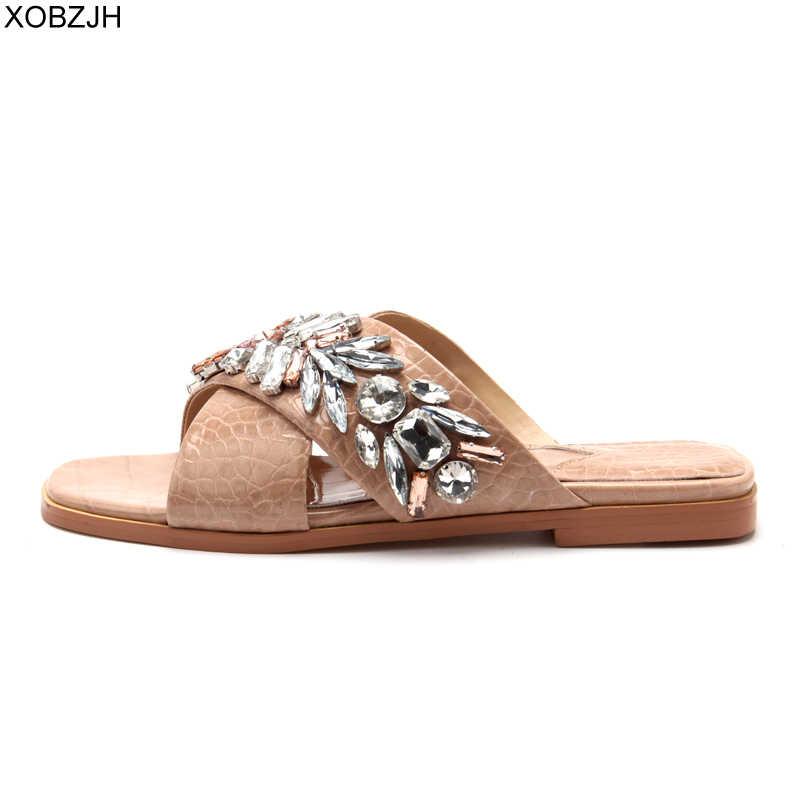 דובאי מעצב שטוח כישלון נעלי עור נעלי נשים יוקרה 2019 חיצוני קיץ נעל מותג ריינסטון G סנדלי נעלי אישה