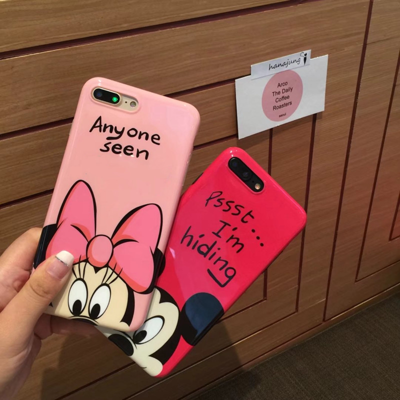 Cute Cartoon Girl Mouse Case For <font><b>iPhone</b></font> X XS MAX XR Cover Soft Silicone Cover For <font><b>iphone</b></font> <font><b>6s</b></font> 6 Plus 7 8 Plus Cases <font><b>Coque</b></font> Fundas image