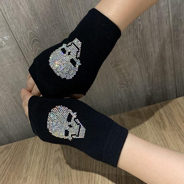Winter Gloves Women Rhinestone Skull A+ Diamond Crown Half Finger Warm Knitted Black Mittens students Gants Femme 6