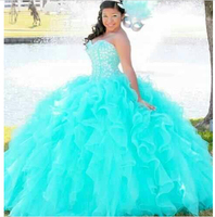 Sweetheart Quinceanera 2018 Corset Ball Gowns with Beaded Bodice Turquoise Long vestido de noiva mother of the bride dresses
