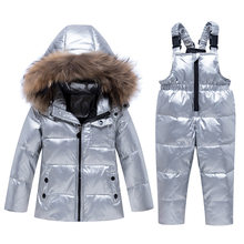 New children's winter warm suit Baby silver down jacket set Girls thick coat + down pants Boys down ski suit kids snowsuit coat(China)