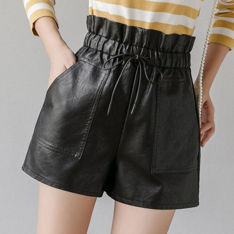 PU Leather Wide-legged Shorts Women Fashion High Waist PU Shorts Girls A-line Faux Leather Shorts Bottoms GT902