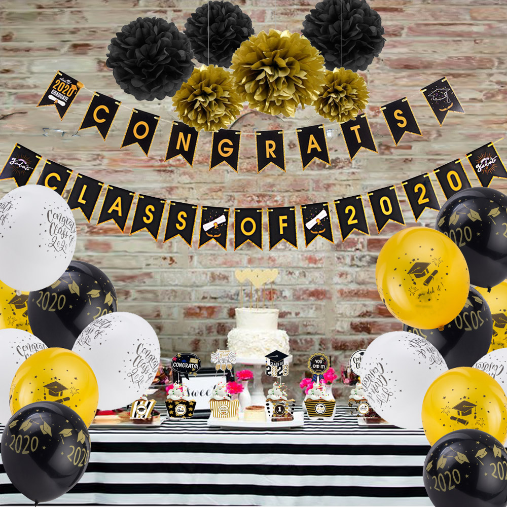 US $10.10 10% OFF10 Black Gold Graduation Decorations Hanging Congrats  Grad Banner Latex Balloons Cake Topper Pom Pom Graduation Party