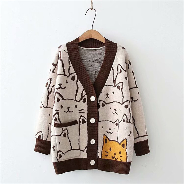 Harajuku Kawaii Cartoon V Neck Cardigan Women Cute Cat Vintage Knitted Sweater Female Retro Fashion Long Sleeve Knitwear Coat 1