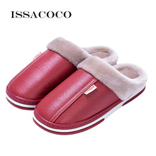 ISSACOCO Winter Slippers Womens Plush Warm Indoor Home Fluffy Waterproof Flat Ladies Shoes