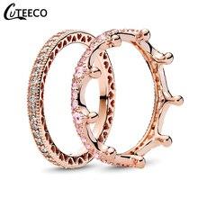 CUTEECO модное розовое золото Волшебная Любовь Корона Циркон комбинированные кольца для женщин Свадебные ювелирные изделия, обручальное кольцо День святого Валентина