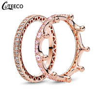 CUTEECO Fashion Rose Gold Magic Love Crown Zircon Combination Rings for Women Wedding Ring Engagement Jewelry Valentine's Day