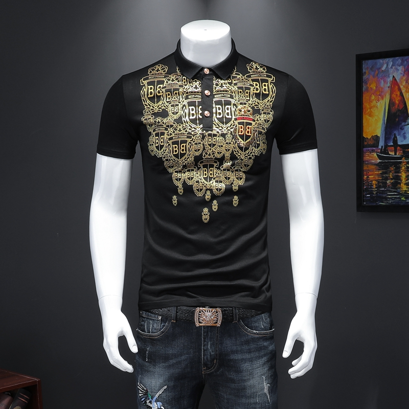 New Men Polo Shirt Casual Badge Embroidery Cotton Plus Size Mens Fashions Short Sleeve Boss Poloshirt
