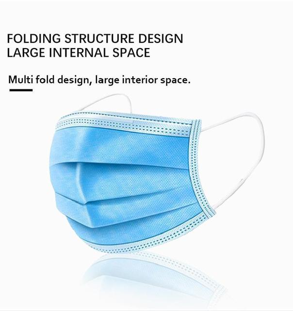 10/50/100 Pcs Non-woven Disposable Face Mask 3-layer Ply Filter Hanging Breathable Ear Filter Mask Mouth 3