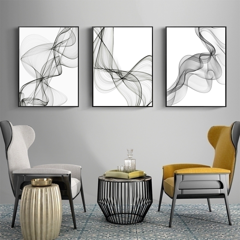 Black And White Abstract Wavy Lines Pattern Canvas Paintings Geometric Poster Print Wall Art Pictures For Living Room Home Decor