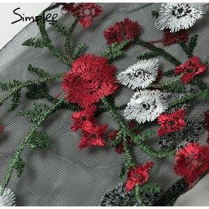 Image 5 - Simplee רקמת פנס sheer אורגנזה נשים חולצה חולצת רשת שרוול חולצה למעלה אלגנטי המפלגה slim פרחוני blusa סוודרים