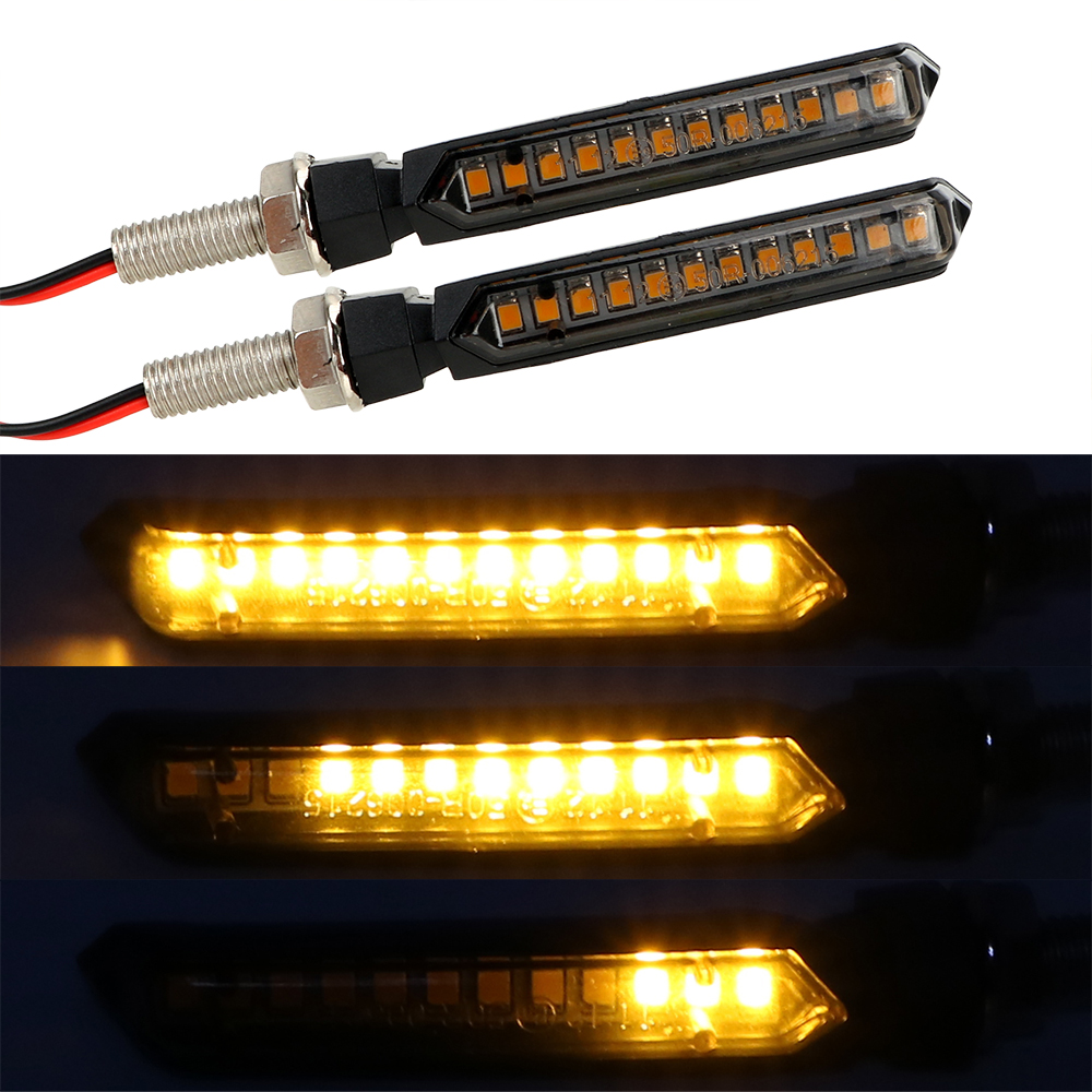 1 Pair  Yellow Flowing Water Blinker Light  Universal Motorcycle Signal Lamp LED Turn Signals Light 12 LEDs