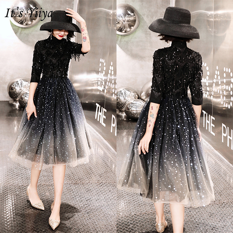 It's YiiYa 2019 Cocktail Dresses Elegant Half Sleeve Women Night Party Gowns Sequined Formal Dress Robe Cocktail Plus Size E389