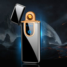 цена на Rechargeable Electronic Lighter USB Cigarette Lighter Windproof Touch Screen Inductive Charging Lighter