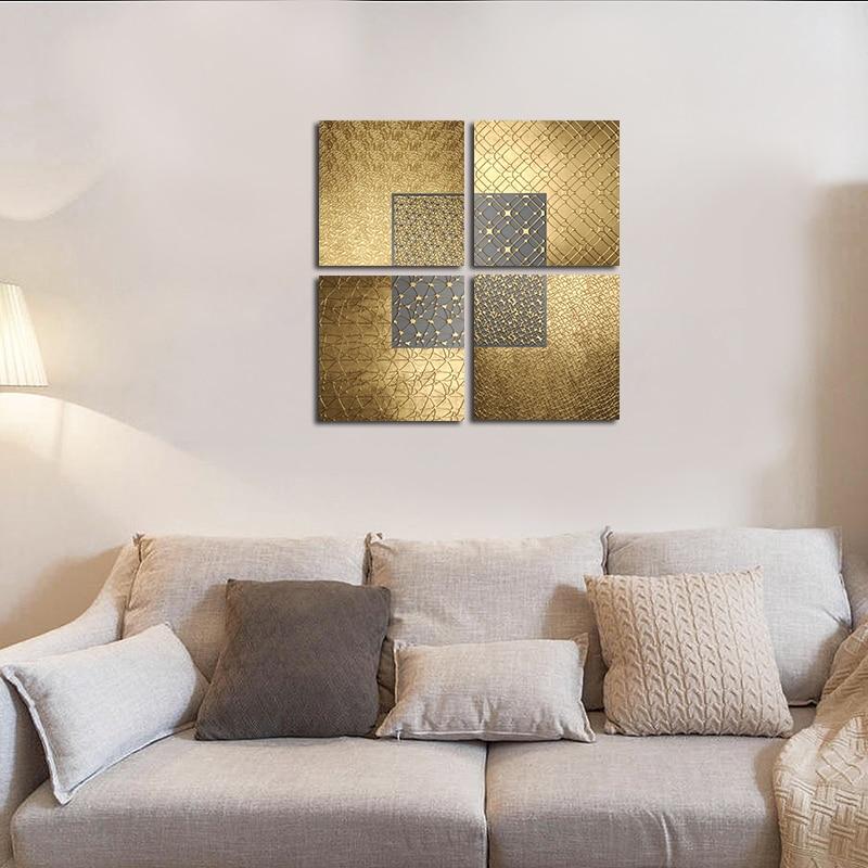 Роскошное настенное искусство, современные скандинавские абстрактные линии, постеры, Геометрическая Золотая Картина на холсте, современны...