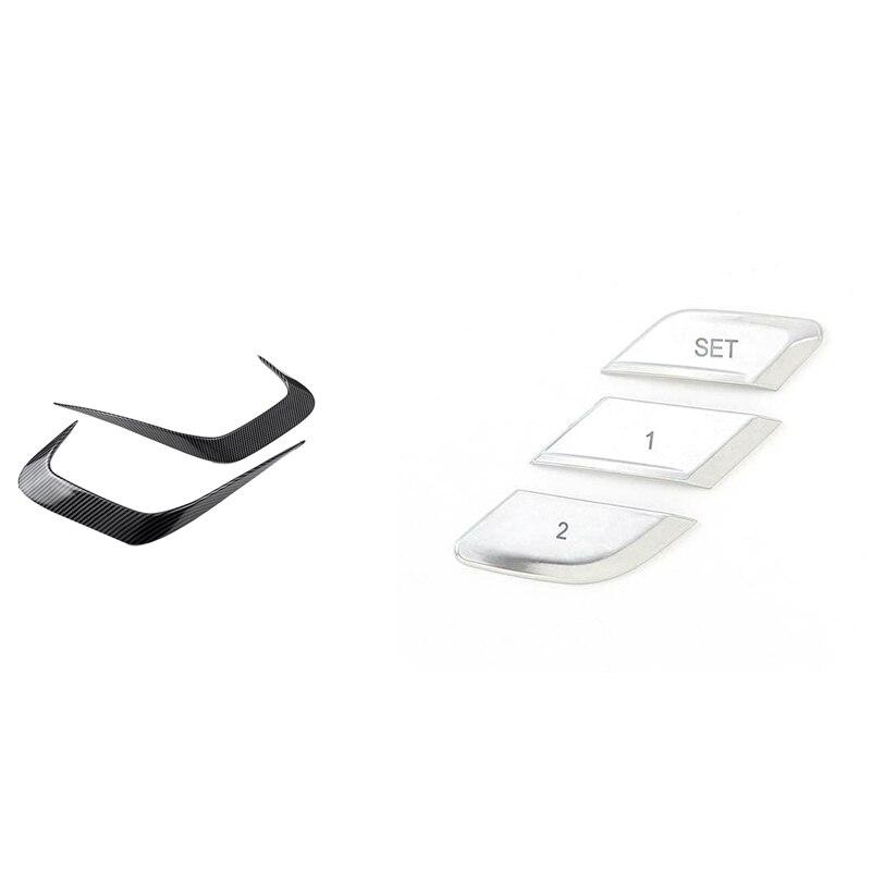 1set Car Rear Bumper Side Splitter for BMW G20 G28 2019-2020 & 3PCS Seat Adjustment Memory Button Sequins Sticker
