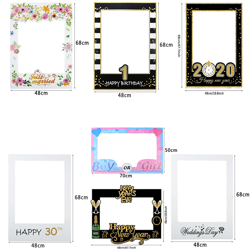 Birthday Wedding Happy New Year Boy Or Girl Photo Booth Frame For Birthday Wedding Gender Reveal Baby Shower New Year Party Deco