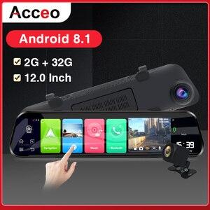 Acceo Автомобильный видеорегистратор X8 4G Android DashCam зеркало заднего вида 2K Автомобильная камера 12 дюймов Stream Media 1080P регистратор двойной объекти...