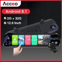 Acceo Car Dvr X8 4G Android DashCam RearView Mirror 2K Car Camera 12 Inch Stream Media 1080P Registrar Dual Lens Video Recorder