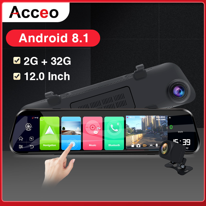 Acceo Car Dvr X8 4G Android DashCam RearView Mirror 2K Car Camera 12 Inch Stream Media 1080P Registrar Dual Lens Video Recorder image