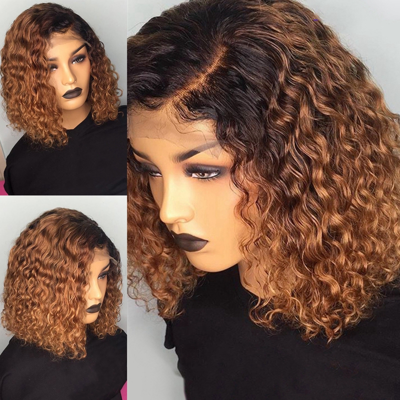 1B/27 Ombre Color Short Curly 13×4 Lace Front Human Hair Wigs With Baby Hair Pre Plucked Remy  Lace Bob Wigs Bleached Knots