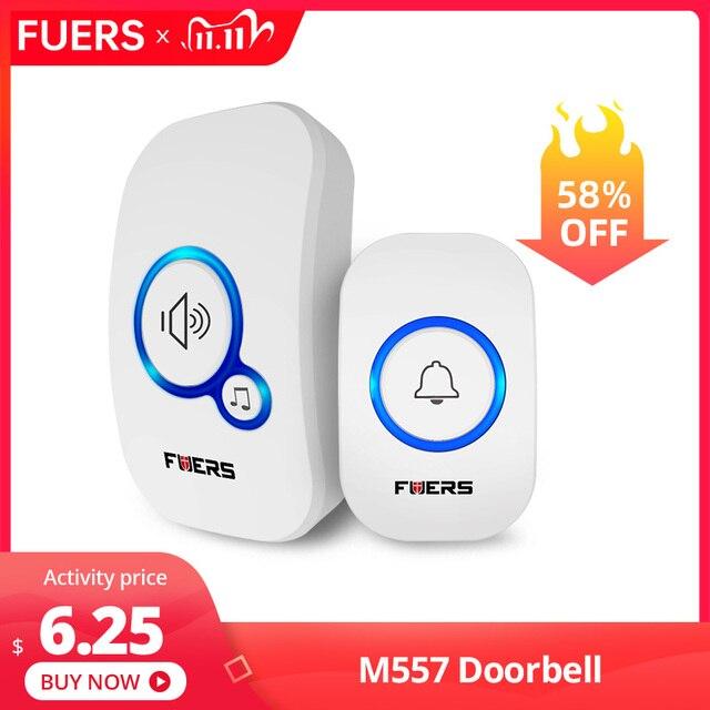 Fuers Wireless Doorbell Welcome bell Intelligent Home Door bell Alarm 32 Songs Smart Doorbell Wireless bell Waterproof Button
