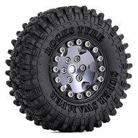 """INJORA 4PCS CNC 1.0"""" Beadlock Wheel Rims Tires Set for 1/24 RC Crawler Car Axial SCX24 AXI90081 AXI00001 AXI00002 Deadbolt 3"""