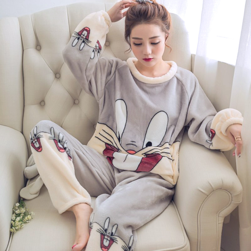 Flannel Women Pyjamas Sets Autumn Winter Warm Thick Coral Velvet Long Sleeve Thin Flannel Pajamas Set For Girl Cartoon Sleepwear