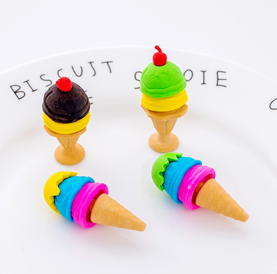 2pcs Ice Cream Pop Cute Rubber Pencil Eraser Stationary School Supplies Items Kawaii Office Cartoon Kids Gift Students Prizes