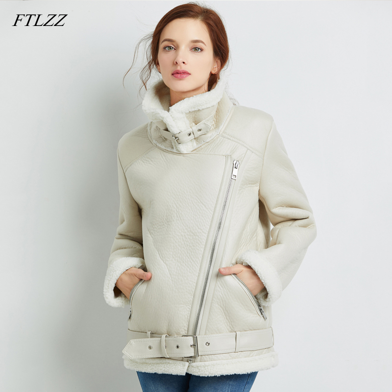FTLZZ 2020 New Women Sheepskin Coats Winter Thicken Faux Leather Fur Female Coat Fur Lining Leather  Aviator Jacket
