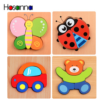 Cartoon Animal Designed Wooden Puzzles Educational Toys for Children Kids Game image