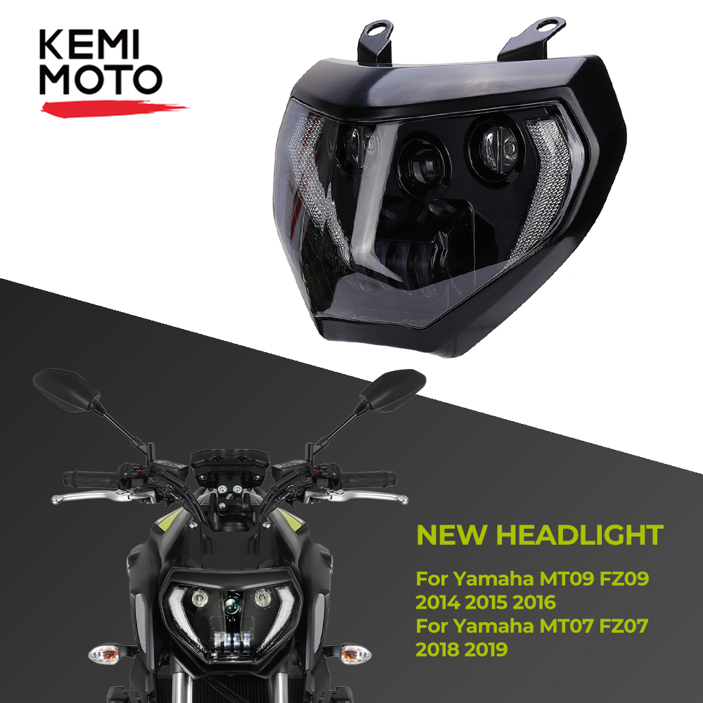 KEMiMOTO MT07 MT09 Headlight LED Lamp MT07 2018 2019 For Headlight YAMAHA MT09 FZ09 2014 2015 2016 DRL 110W